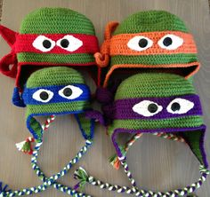 Teenage Mutant Ninja Turtles Hat made with 100% acrylic yarn and buttons. Machine wash & dry.    If a larger size is needed please specify the