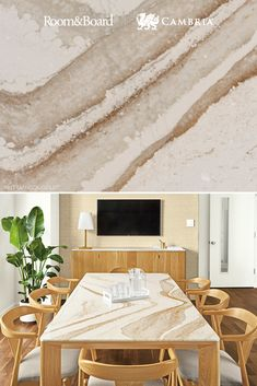 The rich hues in Cambria Brittanicca Gold paired with expert wood craftsmanship from Room & Board creates the perfect dining table for any space. Condo Living, Rugs In Living Room, Home And Living, Room And Board Furniture, Home Furniture, Dining Room Sets, Dining Table, Bathroom Interior Design, Interior Decorating