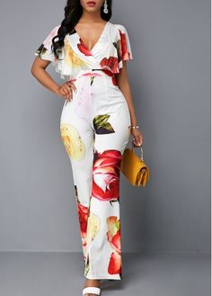 Cheap cheap jumpsuits rompers Jumpsuits & Rompers online for sale Classy Outfits, Stylish Outfits, Cute Outfits, Fashion Outfits, Work Outfits, Meagan Good, Jumpsuit With Sleeves, Jumpsuit Outfit, Printed Jumpsuit
