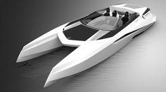 future concept design cataraman yacht | Reinvention V12 powerboat, future yacht, PROVOCOyachts design studio