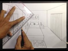 How to Draw a Simple Bedroom in One Point Perspective. One-point perspective A drawing has one-point perspective when it contains. Croquis Architecture, Interior Architecture Drawing, Drawing Interior, Interior Design Sketches, One Point Perspective Room, 1 Point Perspective Drawing, Perspective Art, Bedroom Drawing, Drawing Furniture