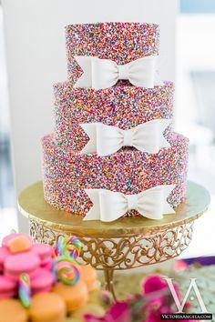 Anna Cakes in Winter Springs FL // central florida wedding cake vendors Sprinkle Wedding Cakes, Rainbow Sprinkle Cakes, Rainbow Sprinkles, Rainbow Cakes, Rainbow Theme, Pretty Cakes, Cute Cakes, Kate Spade Cake, Birthday Venues