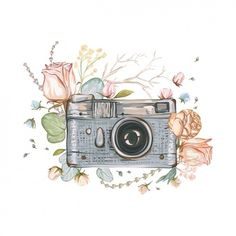 Vintage retro photo camera in flowers, leaves, branches on white background. Hand drawn Vector illustration, separated elements in collage. Kamera Tattoos, Camera Art, Camera Painting, Camera Drawing, Buch Design, Watercolor Art, Art Drawings, Retro Vintage, How To Draw Hands