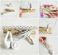 Auriculars en ordre / Organize your headphones Homemade Crafts, Diy Home Crafts, Doll Crafts, Arts And Crafts, Wooden Crafts, Recycled Crafts, Craft Gifts, Diy Gifts, Quilling