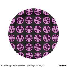 Pink Bullseye Black Paper Plates 7 Inch Paper Plate  sc 1 st  Pinterest & Orange Bullseye Black Paper Plates 7 Inch Paper Plate | Zazzle ...