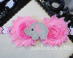 Pink & Gray Elephant Rosette Trendy Infant Headband by DirectorJewels. Shop Handmade on Etsy this holiday Season!
