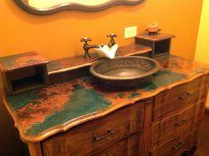 9 best patina images copper countertops copper bathroom epoxy rh pinterest com Mesquite Bathroom Countertop Copper Countertop with Sink Green