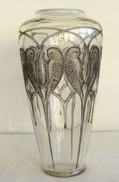 R. LALIQUE__ .A spectacular clear and blue grey stained example of this rare vase. Date c1920 Condition excellent.