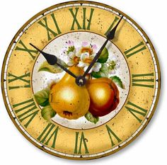 Item C2101 Vintage Style Botanical Fruit Pears Clock
