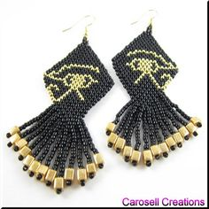 Eye of Horus Ancient Egyptian Seed Beaded Dangle Earrings |