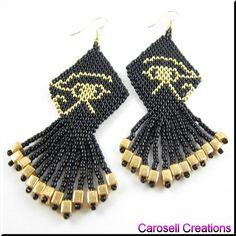 Eye of Horus Ancient Egyptian Seed Beaded Dangle Earrings |