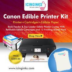 #Icinginks #CanonEdiblePrinter Kit - Back Feeder & Top Loader #Edible #Printer - Comes With #RefillableEdibleCartridges and 12 #FrostingSheets Pack