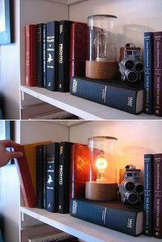 """""""Secret Passage Light""""... Pull a book that activates the secret on/off switch to the little lamp. This would be cool to make!"""