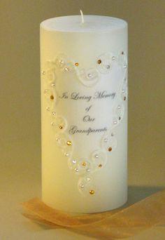 Topaz Swarovski Crystal Lace Memorial Candle Heart Design  http://www.weddingsarefun.com/amber-topaz-swarovski-crystal-memorial-candle.html