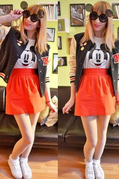 Black-mickey-mouse-sunglasses-white-mickey-mouse-t-shirt-red-skirt