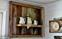 Rustic Salvaged Wood Shelf Display by http://knickoftimeinteriors.blogspot.com/