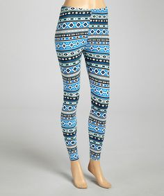Loving this Blue & Gray Tribal Stripe Leggings on #zulily! #zulilyfinds