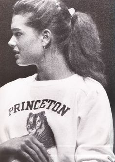 Actress-model Brooke Shields wearing her school sweatshirt in a performance with Princeton's famous Triangle Club