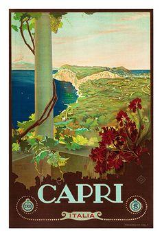 Capri Italia Travel Poster Poster Paper Sticker or by WallArty