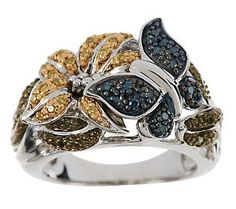 AffinityDiamond 1/4 ct tw Flower and Butterfly Ring, Sterling