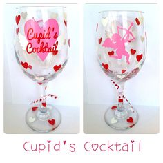 Valentine's Day Wine Glass Cupid'sCocktail by CreateBeautywithLove on Etsy, $20.00