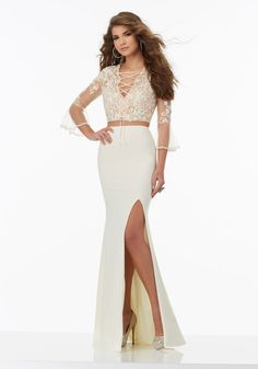 Two-Piece Prom Dress with Embroidered Net Top and Jersey Skirt. Prom Dresses by Morilee designed by Madeline Gardner.