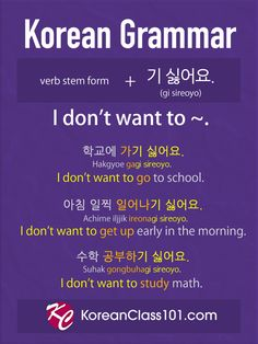 Korean Grammar: I don't want to ~.