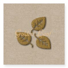 Personalized Golden Leaf Linen Texture Sticker, editable text, for personalized gifts #baby