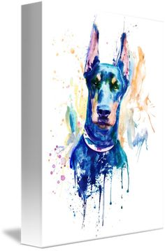 """Doberman+Dog+Head""+by+Marian+Voicu,+Bucharest+//+Watercolor+portrait+of+a+Doberman+dog+head.+//+Imagekind.com+--+Buy+stunning+fine+art+prints,+framed+prints+and+canvas+prints+directly+from+independent+working+artists+and+photographers."
