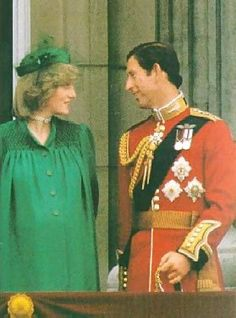 June 12, 1982: Prince Charles and Princess Diana on the balcony of Buckingham Palace for Trooping the Colour