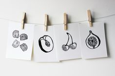 blackberries, peach pit, cherries, fig - block printing, stamp, printmaking, fruit series Linocut Prints, Art Prints, Peach Tattoo, Peach Pit, Black B, Drawing Challenge, Blackberries, Cherries, Fig