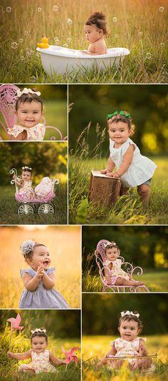 Kansas City baby photographer - Swade Studios www.swadestudiosphotography.com outdoor baby photo shoot, bubbles, bathtub, carriage, rubber duckie, pinwheels, summer park session.