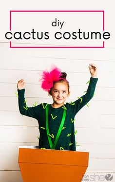 Halloween is just around the corner and if youre like me you need easy. Enter this adorable diy cactus costume complete with its own flower pot. Halloween Costumes For Girls, Diy Costumes, Halloween Diy, Costume Halloween, Teacher Costumes, Halloween Makeup, Costume Ideas, Diy Projects For Adults, Diy For Kids
