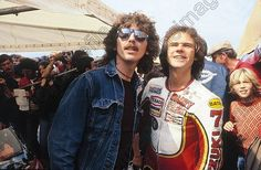 George Harrison and friend Barry Sheene