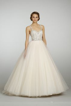 @Lazaro Bridal Champagne Sparkle Tulle Ball Gown style 3319