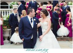 Samantha and Ricky chose a fuschia pink and navy blue color theme for their bridal party! See more on my blog! http://vanessajoyphotographyblog.com/2016/08/florentine-gardens-wedding-2/