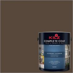 Kilz Complete Coat Interior/Exterior Paint & Primer in One #LL110 Coffee Grounds, 1 gal, Flat, Brown