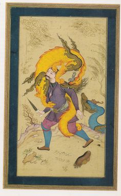 ) Or Bahrâm Gûr fight the Ezhdehâ (dragon) - Mo'in Mosavver. The Song of the World - The Art of Safavid Iran Assadullah Souren Melikian-Chirvani. Maleficarum, Ancient Persia, Dragon Images, Celtic Dragon, Iranian Art, Art Costume, Calligraphy Art, Islamic Calligraphy, Chant