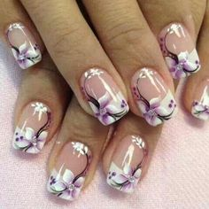 Cute And Simple Nail Art 2018 Glitter Nails is essential for any holiday! Nail Art Designs, Nail Designs Spring, Nails Design, Pedicure Designs, Flower Design Nails, Manicure Ideas, Gel Manicure, Nail Art Flowers Designs, Purple Nail Designs