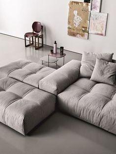 Modular upholstered #sofa PIXEL by Saba Italia   #design Sergio Bicego #grey #minimal
