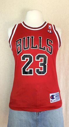 Champion Michael Jordan Jersey    Vintage 90s Chicago Bulls NBA MJ 23  throwback basketball red jersey size Youth Medium 10-12   womens small 1fc64eef5