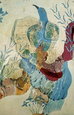 """The Famous """"Blue Birds"""" of Crete, Fresco Art at Knossos, showing a bird among rocks, wild roses and irises - the royal gardens of Knossos are depicted on this fresco."""