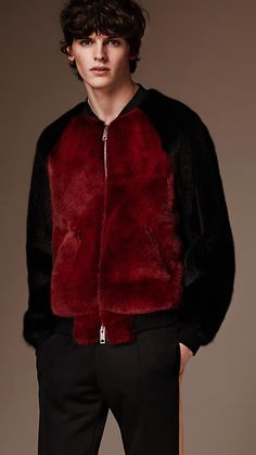 Black Raglan Sleeve Fur Bomber Jacket - Image 1
