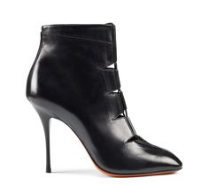 Santoni | black calfskin laced ankle boot with intertwining laces in view #boot #fw1415