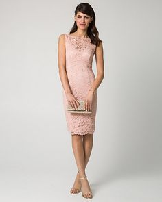 Lace Illusion Cocktail Dress - Allover lace romantically details the feminine silhouette and illusion neckline of a stunning cocktail dress.