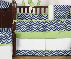 Cheap Navy Blue White Green Baby Bedding Crib Set For Girl Boy Room Collection