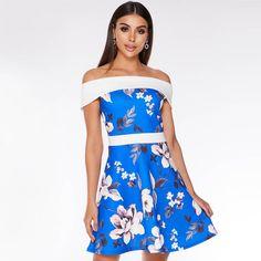 Royal Blue Cream and Pink Floral Bardot Skater Dress