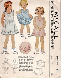 McCall 499 1930s Girls Heirloom Underclothes Panties Slips Embroidery Transfer Toddlers Childs Vintage Sewing Pattern by mbchills