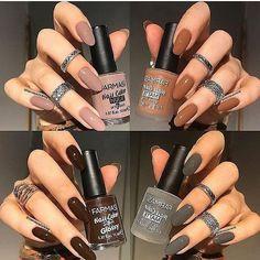 Farmasi nail polishes Flint Dash Chocolate Pudding + top coat Cocoa Coma the Classy Nails, Stylish Nails, Matte Nails, Acrylic Nails, Nail Paint Shades, Farmasi Cosmetics, Dream Nails, Cute Nail Designs, Nail Polish Colors