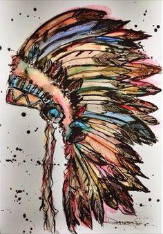 Rainbow Indian Headdress by Dallas Art